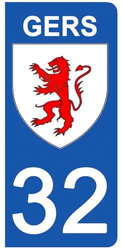 DECO-IDEES Lot de 2 Stickers pour Plaque d'immatriculation - 32 - Blason GERS - Ré gion Occitanie