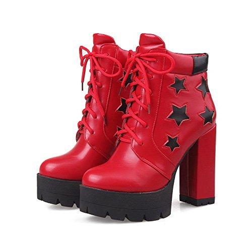 Odomolor Damen Weiches Material Schnüren Rund Zehe Hoher Absatz Niedrig-Spitze Stiefel Rot