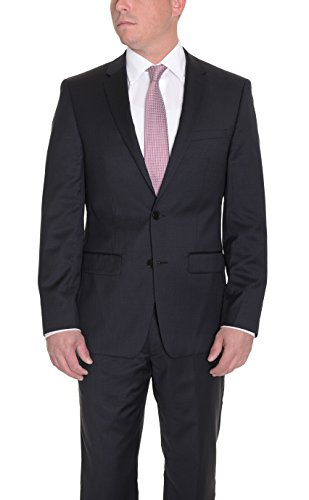 DKNY Skinny Black Mini Check Two Button Slim Fit Wool Suit ()
