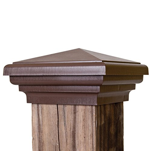 New England Post Top (4x4 Post Cap | Brown New England Pyramid Style Square Top for Outdoor Fences, Mailboxes & Decks, by Atlanta Post Caps)