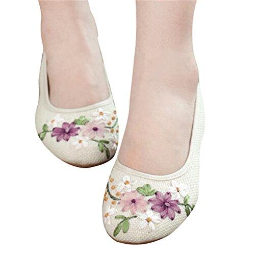 Loafers Tessuto Rotondo Etnico Bianco Minetom Ballerine Shoes Scarpe Fiore Stile Jane Punto Morbido Donna Cotone Basse Mary nzSxzB