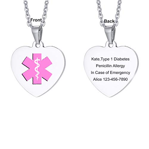 (LMXXV Custom Engraved 316L Stainless Steel Medical Alert ID Heart Shape ID Tag Pendant Necklace,Pink Symbom)