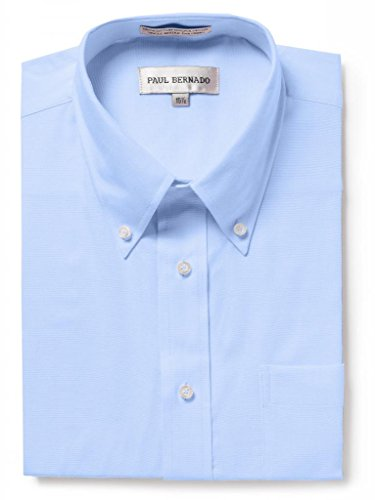 Paul Bernado Men's Short Sleeve Oxford Shirt-Wrinkle-Free Button Down Collar