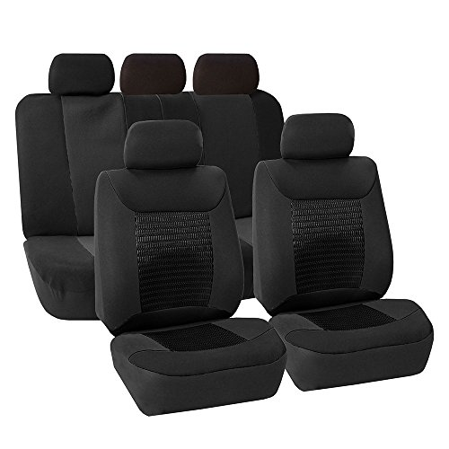 FH Group FB062BLACK115 Universal Car SUV Truck Van Seat Cover Premium Fabric with 3D Air Mesh Airbag Compatible Black