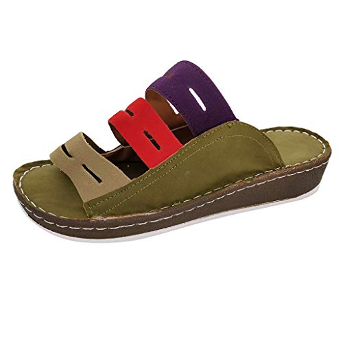 (Women Sandals, LONGDAY  Casual Flats Summer Slippers Soft Sole Leather Wedge Shoes Comfy Slip On Hollow Flip Flops Army Green)