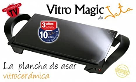 Jata Vitro Magic - Plancha de cocina, 1600 W, 28x46, antiadherente, color negro