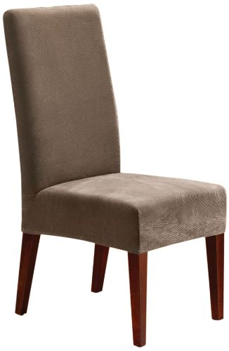 Sure Fit Stretch Pique - Shorty Dining Room Chair Slipcover  - Taupe (Microsuede Dining Chair Cover)