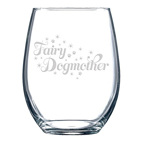 "Funny Wine Glass with ""Fairy Dogmother"" Saying, Classic, Unstemmed Wine Glass for Women"