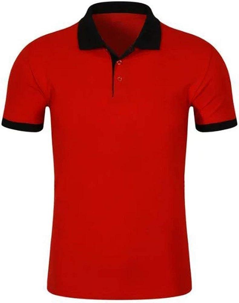 Camisa De Polo De Manga Corta De Manga Corta De Polo Esencial para Hombres Camisetas De Deportes De Ocio Y Trabajo De Algodón Roja Y Negra (Color : Rojo, Size : S):
