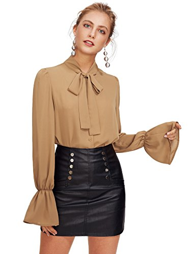 Floerns Women's Bow Tie Long Sleeve Chiffon Blouse Tops Khaki - Khaki Blouse