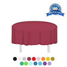 Anborfly Rose Red Plastic Tablecloth 6 Pack Disposable Round Table Cloths 84in. x 84in. Table Covers for Parties Birthdays Picnic Weddings Christmas Indoor or Outdoor Use