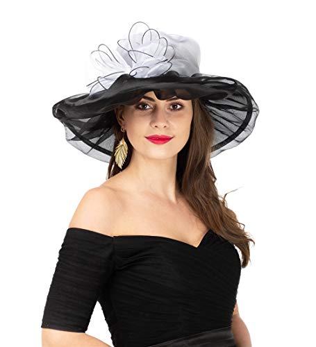 - SAFERIN Women's Organza Church Kentucky Derby Fascinator Bridal Tea Party Wedding Hat (L-White Black Bow)