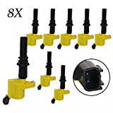condenser pack - Carrep DG511 Yellow Ignition Coil Coils Pack (8) for Ford F-150 F150 F250 F350 F450 F550 Pickup V8 4.6l 5.6l
