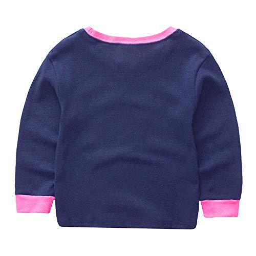 Girls Chirstmas Unicorn Pajamas Sleepwears 2pcs Long Sleeves Tops Pjs Nightwear + Pants Sets for Toddler Kid Size 5-6 Years 6T