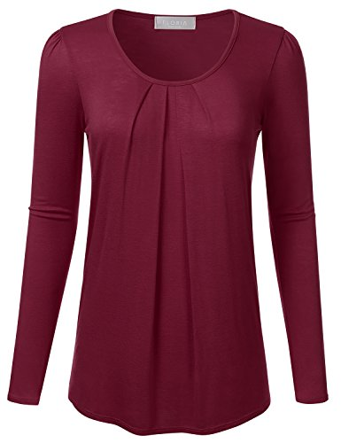 FLORIA Womens Ruched Round Neck Long Sleeve Solid Basic Blouse Top BURGUNDY 2XL