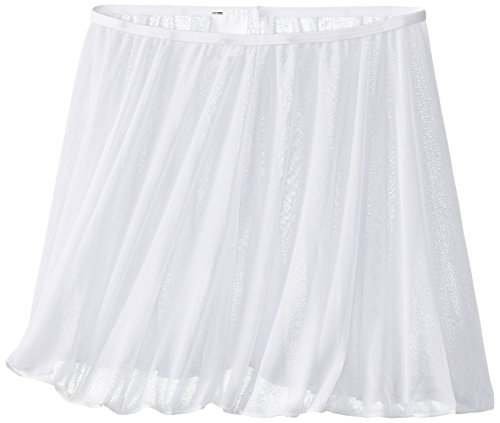 Clementine Apparel Girls' Little (2-7) Chiffon Ruffle Pull On Wavy Dance Ballet Skirt Dancwear Costumes, White, Large/X-Large