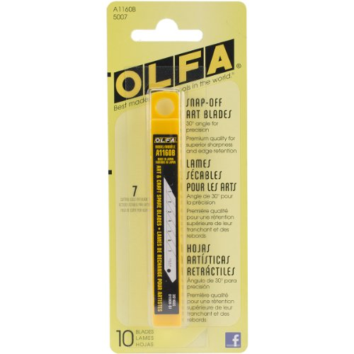 (OLFA 5007 A1160B 9mm Snap-Off Art Blade, 10-Pack)