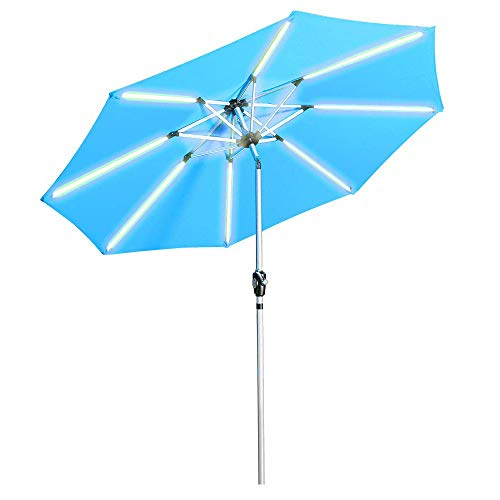 Aok Garden LED Outdoor Umbrella,9 Feet Solar Powered LED Lighted Patio Umbrella with Push Button Tilt and Crank Outdoor Market Umbrella Garden Poolside Sunshade-(Solar LED,Light Blue) …