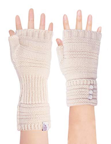 Dahlia Women's Knit Fingerless Gloves, Hand & Wrist Warmer, Adjustable, ()