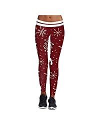 Imbry Women's Christmas Printed Leggings Tights Workout Fitness Yoga