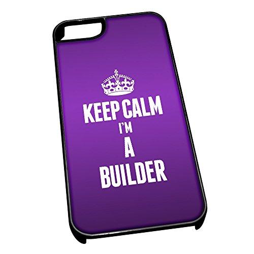 Nero cover per iPhone 5/5S 2537viola Keep Calm I m A builder