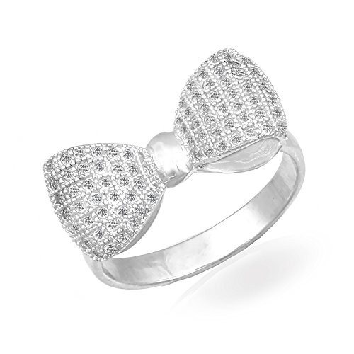 JewelryVolt 925 Sterling Silver Ring Bowtie Ribbon Round Clear CZ Accent