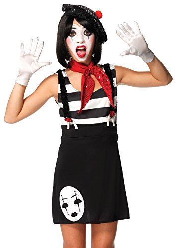 Leg Avenue Junior's 4 Piece Miss Mime Costume, Black/White, Small/Medium (Best Halloween Costumes For Teen Girls)