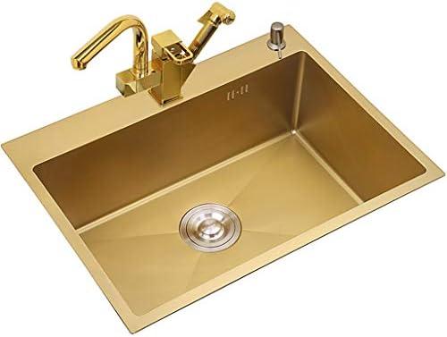 洗面台 キッチンシンクステンレススチールシングルスロット家庭用品洗濯プールバーバルコニーコーヒーショップ使用簡単掃除ギフト (Color : Gold, Size : 75*45*21 cm)