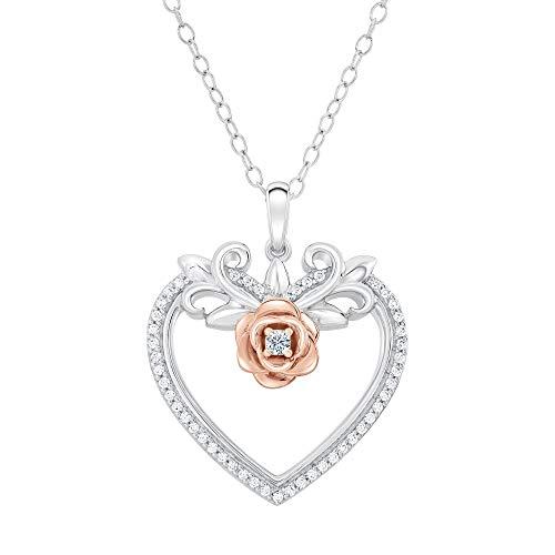 (Enchanted Disney Belle Diamond Heart and Rose Pendant 1/7ctw)