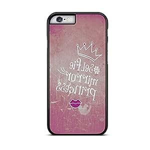 """Funda carcasa para iPhone 6-6S diseño ilustración para selfie """"selfie mirror princess"""" borde negro"""