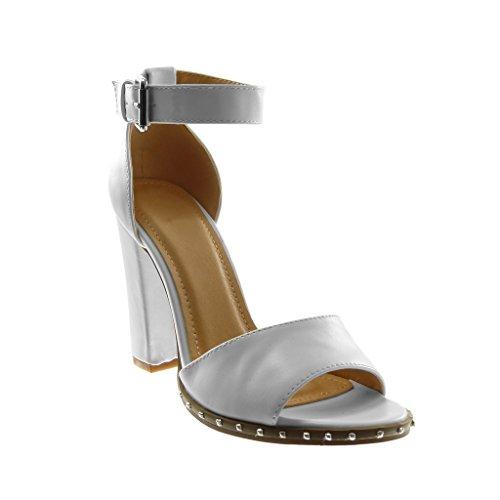 5 Blanco Ancho Tacón Mujer Tacón cm Escarpín Zapatillas Tachonado Tanga Angkorly de Correa Tobillo 10 Alto Sandalias Moda qSAAw