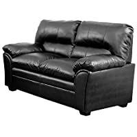 Homelegance Talon Contemporary Loveseat Bonded Leather, Black