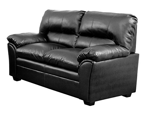 Homelegance Talon Contemporary Loveseat Bonded Leather, Black - Black Loveseat Leather Match