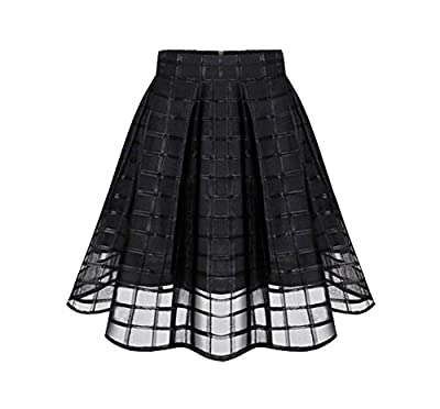 Shawhuaa Womens Organza Sheer A-line Flared Pleated Skater Skirt
