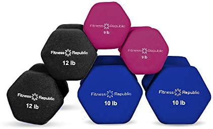 Fitness Republic Neoprene Weights Dumbbells Set, Hand Weights for Women Dumbells, 3 Set Weights Non-Slip, Hex Shape, Free Weight Dumbbell Sets for Strength Building 9lbs, 10lbs 12lbs