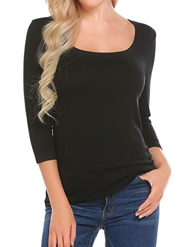 SoTeer Women's Plain Basic Cotton Spandex Scoop Neck 3/4 Sleeve T Shirt (Black, M)
