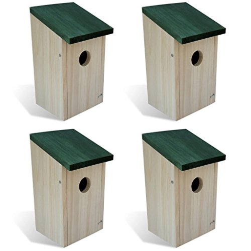 vidaXL Patio Outdoor 4 pcs Garden Wooden Bird House Nesting Box Green Roof Feeder