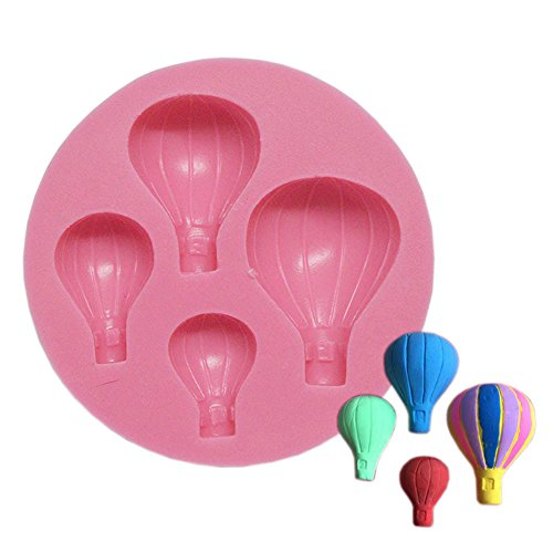 Famulei 2Pcs Hot Air Balloons Silicone Fondant Molds for Soaps Candy Chocolate Gummies Clay Making Cake Molds for Baking