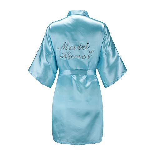Blue Plaid Rhinestone - EPLAZA Women's One Size Silver Rhinestones Bride Bridesmaid Short Satin Robes for Wedding Party Getting Ready (Acid Blue, Maid of Honor)