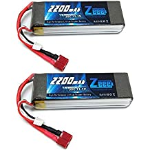 Zeee 3S Lipo Battery 11.1V 30C 2200mAh RC Batteries with Deans T Style Connector for RC Quadcopter Helicopter Airplane Multi-Motor Hobby DIY Parts(2 Pcs)