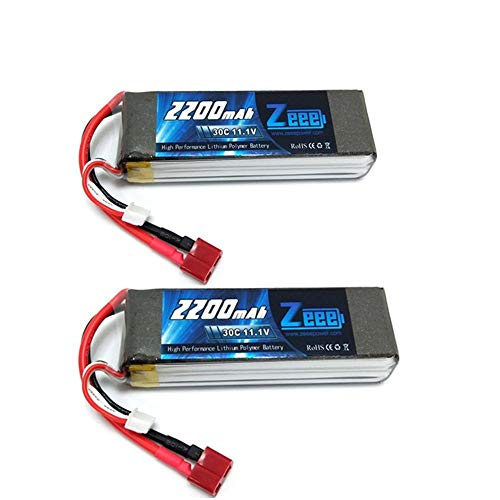 Zeee 3S Lipo Battery 11.1V 30C 2200mAh RC Batteries with Deans T Style Connector for RC Quadcopter Helicopter Airplane Multi-Motor Hobby DIY Parts(2 - Rc Battery 2200 Mah