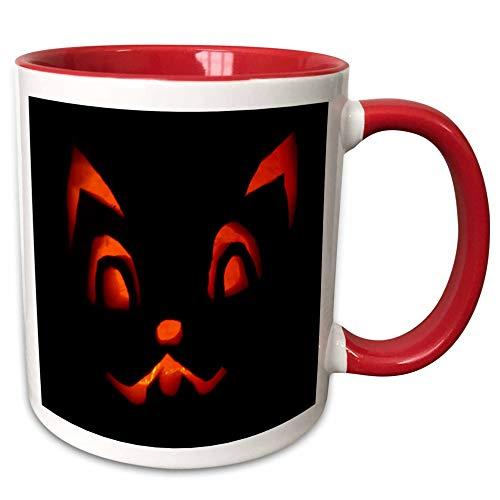3dRose Sandy Mertens Halloween Designs - Cat Jack o Lantern Face Black Background Halloween, 3drsmm - 15oz Two-Tone Red Mug (mug_290239_10)