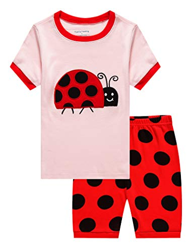 Family Feeling Big Girls Ladybug Summer Pajamas Short Sets 100% Cotton Kid -