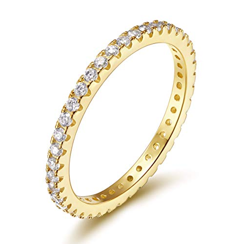 EAMTI 2mm 925 Sterling Silver Wedding Band Cubic Zirconia Full Stackable Eternity Engagement Ring Size 4-10 (Gold Plated, 6.5) - White Gold Engagement Eternity Ring