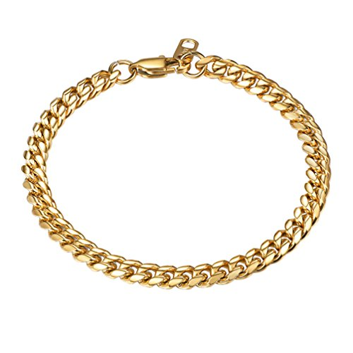(PROSTEEL Gold Chain Bracelet Hip Hop Chain Cuban Link 18K Plated Miami Hiphop Rocker Women Men Jewelry Gift)
