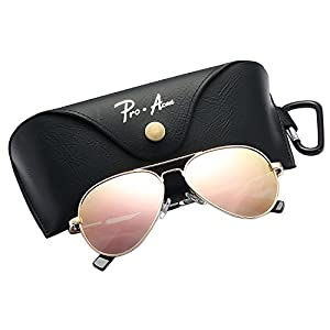 Pro Acme Small Polarized Aviator Sunglasses for Kids and Youth Age 5-12 (Gold Frame/Pink Mirrored Lens)