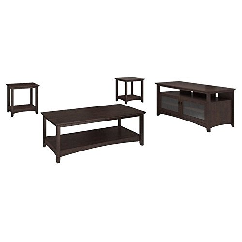Bush Furniture Buena Vista TV Stand, Coffee Table and Set of 2 End Tables