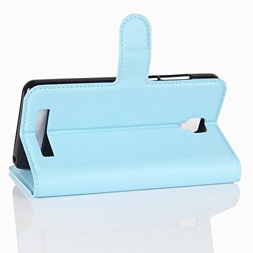 Lusee® PU Caso de cuero sintético Funda para Doogee X10 5.0 Pulgada Cubierta con funda de silicona violeta azul