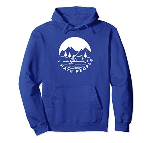 Unisex I Hate People rather be in the Mountains Pullover Hoodie Small Royal - Hate Hoodie I People