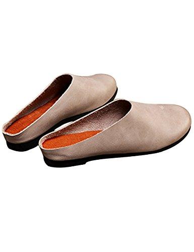 Zoulee Dames Ronde Neus Leer Antislip Flats Schoenen Pantoffels Grijs